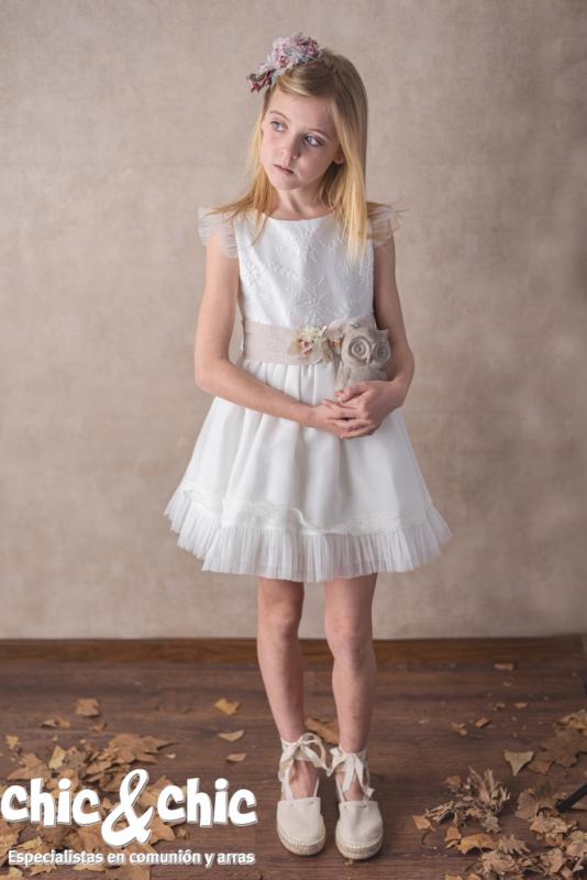 Vestido de ceremonia tul crudo-tostado.201411 (4-12 Años)