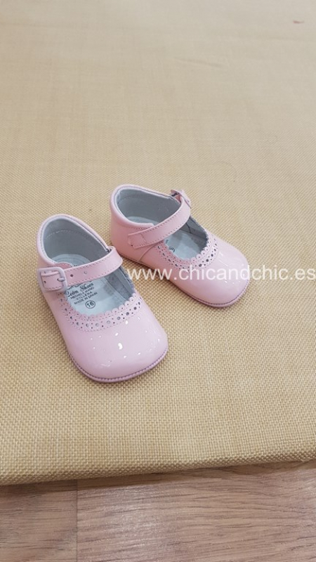 Zapato bebe piel charol rosa. Mod. 2603