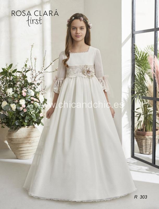 Vestido de comunión 303 Rosa Clará.