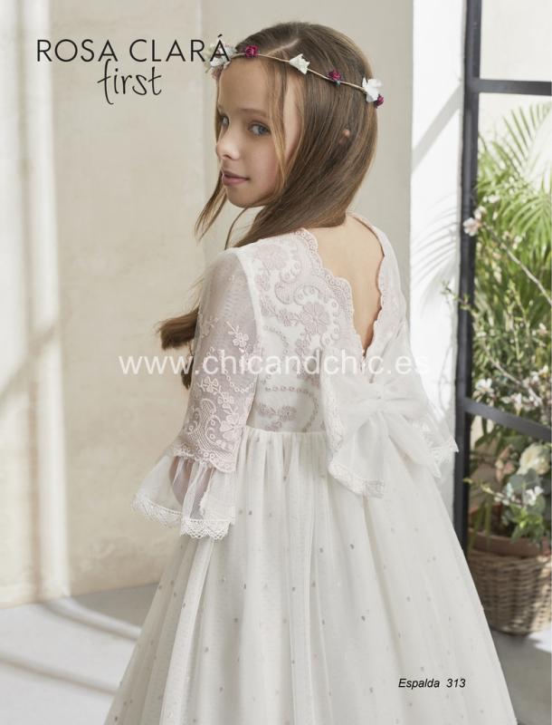 Vestido de comunión 313 Rosa Clará.