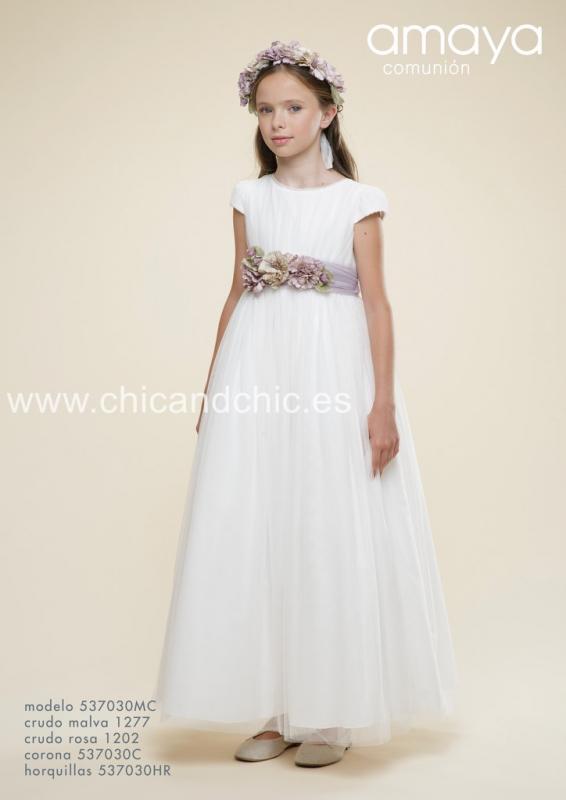 Vestido de comunión 537030MC . Crudo-malva