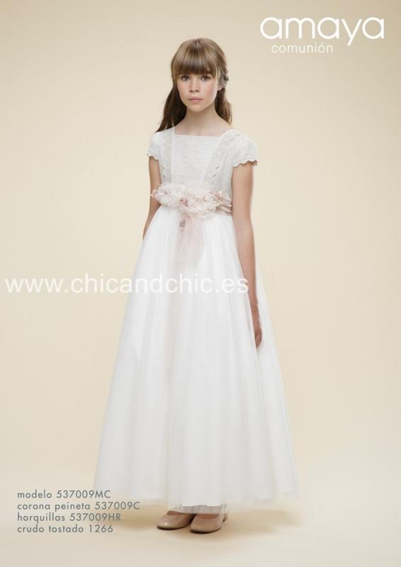 Vestido de comunión 537009MC . Crudo-tostado