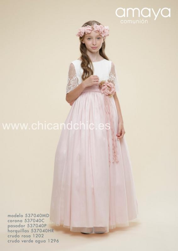 Vestido de comunión 537040MD . Crudo-rosa