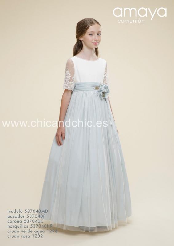 Vestido de comunión 537040MD . Crudo-verde agua