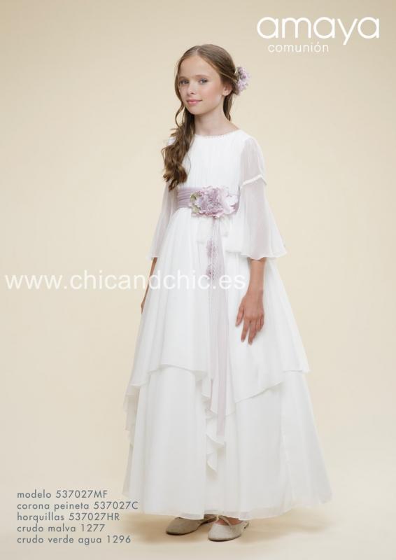 Vestido de comunión 537027MF. Crudo-malva