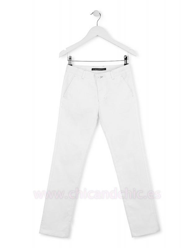 Pantalón gabardina elastano blanco