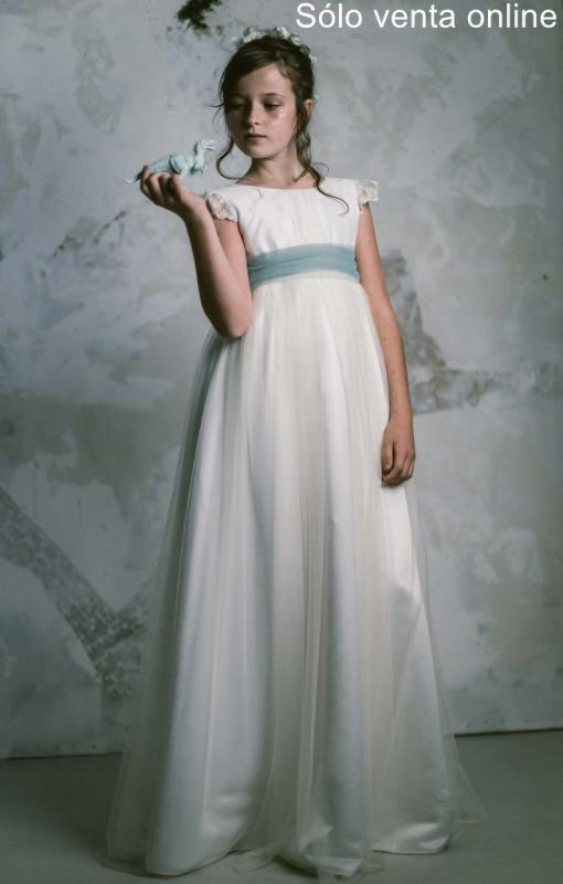 Vestido de comunión LEONOR TUL VERDE. SOLO VENTA ONLINE.