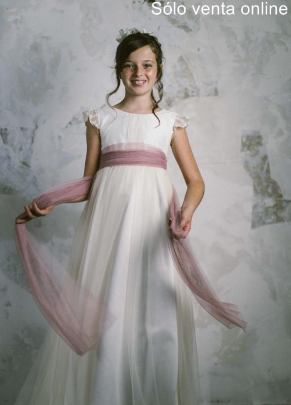 Vestido de comunión LEONOR TUL ROSA. SOLO VENTA ONLINE.