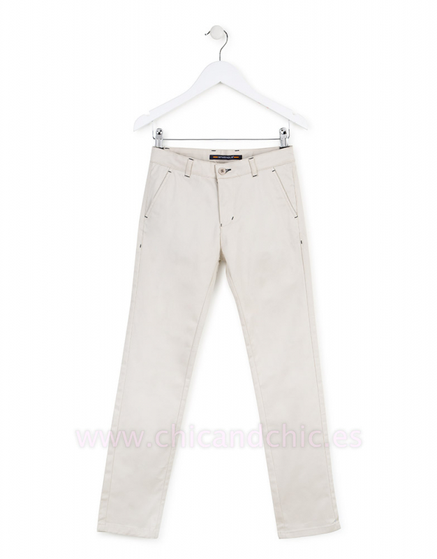 Pantalón gabardina elastano beige.