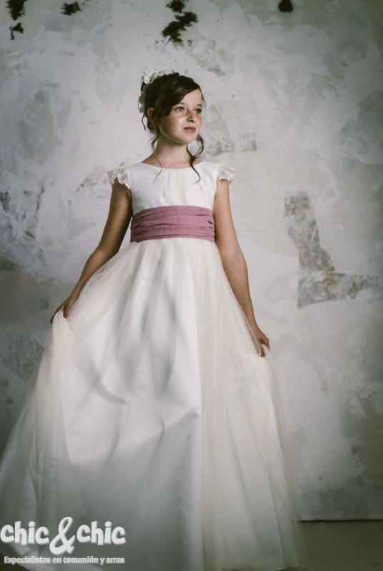 Vestido de comunión LEONOR MUSOLA ROSA.