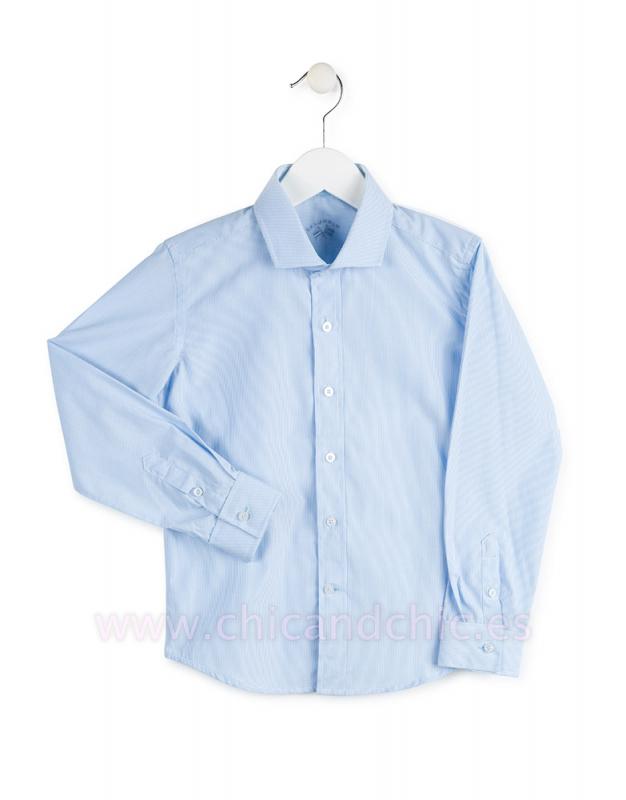 Camisa popelin rayas celeste