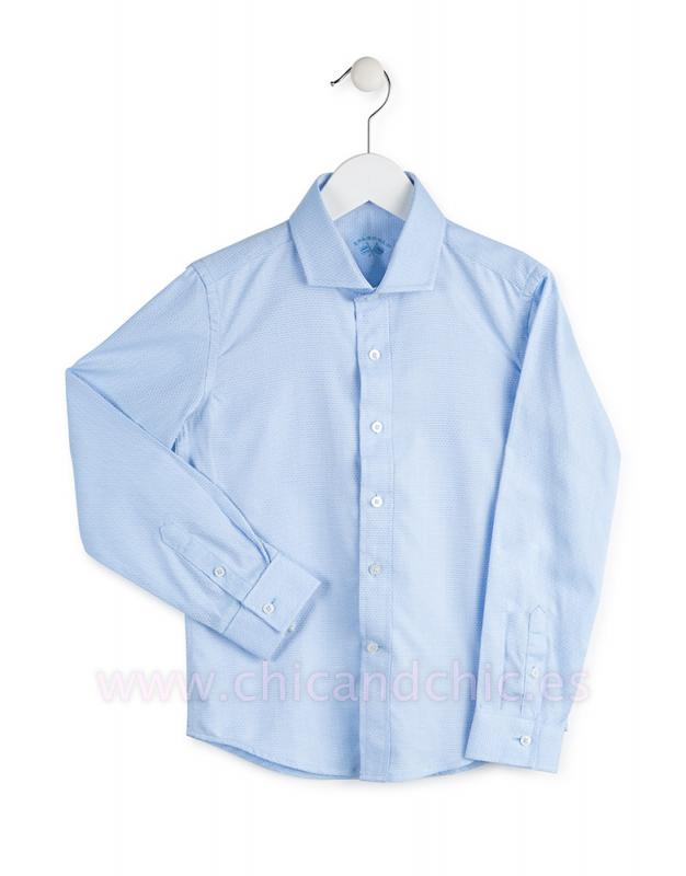 Camisa jacquard cutaway azul celeste.