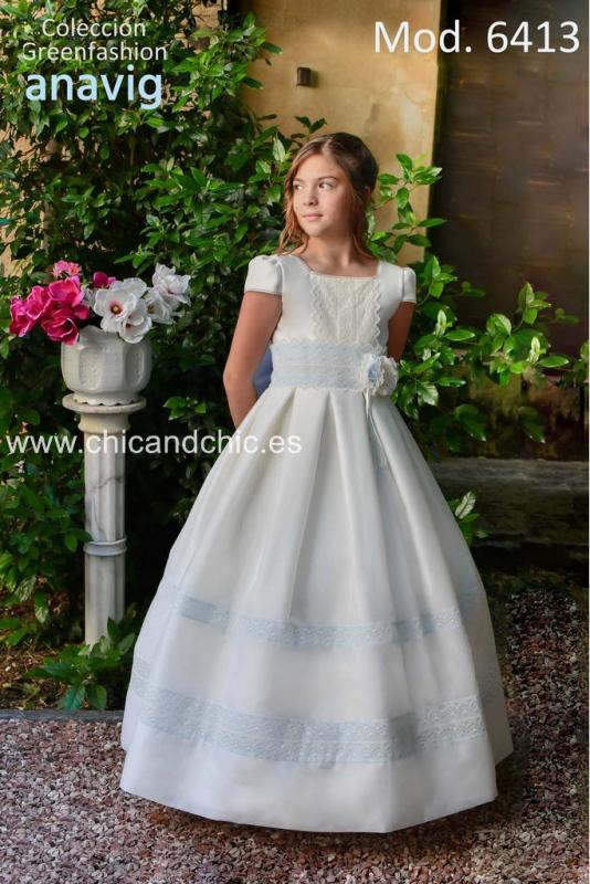 Vestido de comunión  216413 Color crudo-celeste