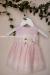 Vestido bebe en organza rayada rosa. 201009R