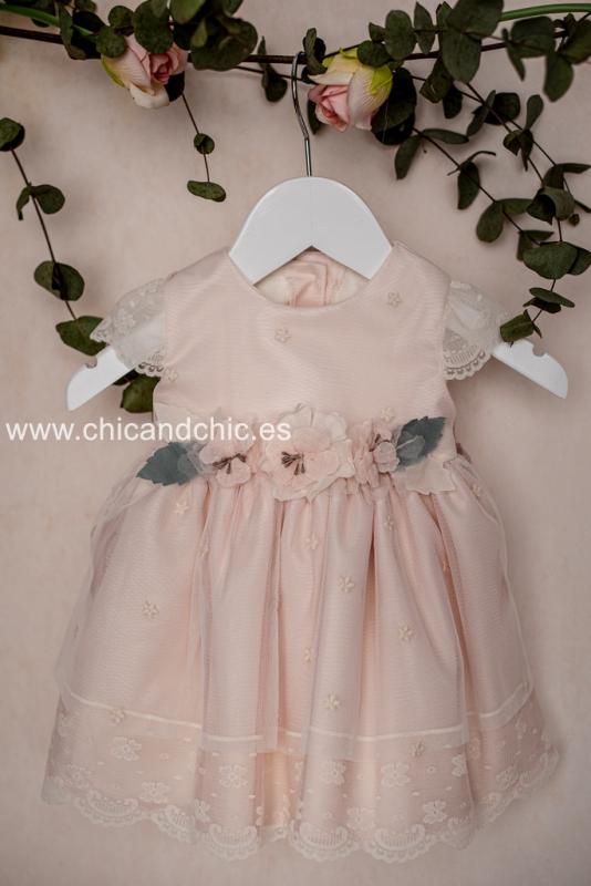 Vestido bebe en tul rosa. 5101800