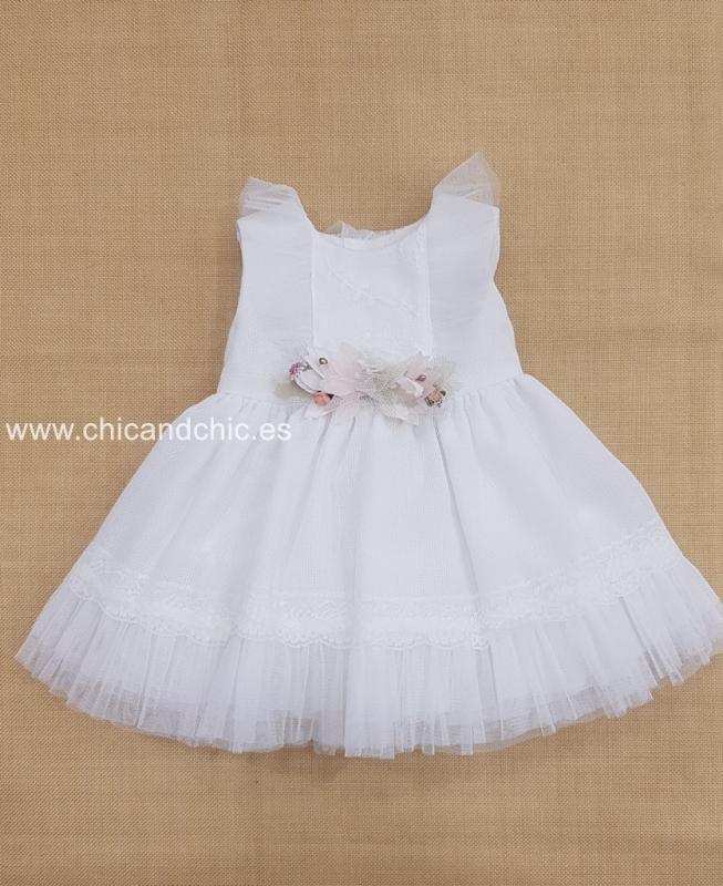 Vestido bebe ceremonia crudo. 204416 crudo