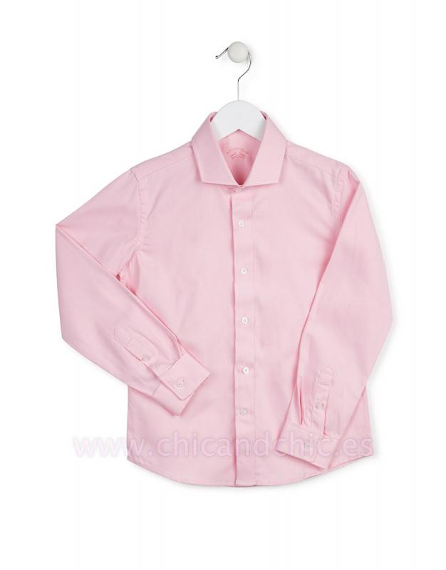Camisa dobby cutaway rosa.