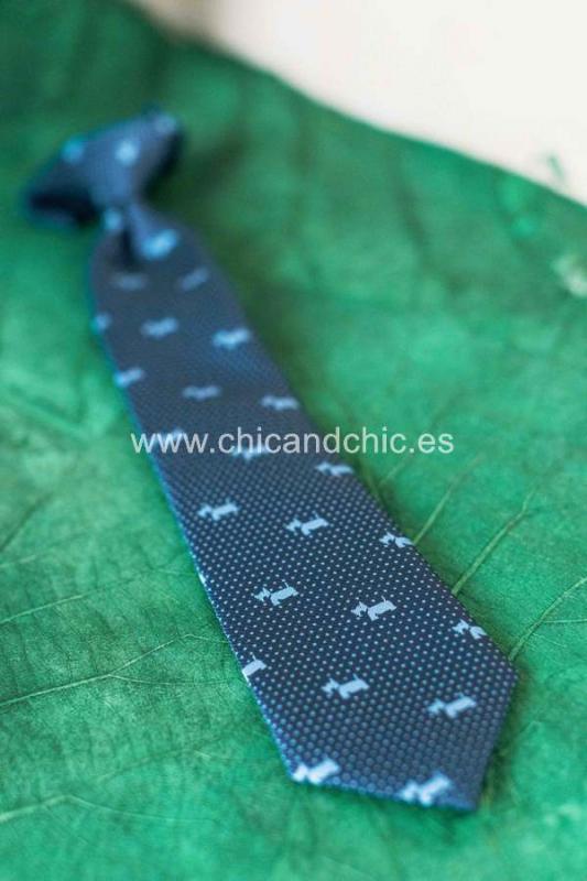 Corbata estampada perritos niño azul