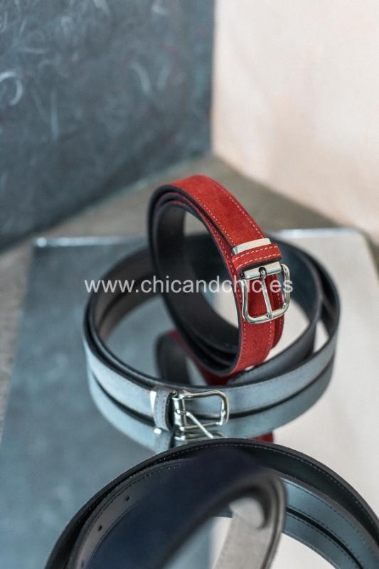Cinturón ante Azul/Rojo/Gris/Beige. Medida estandar