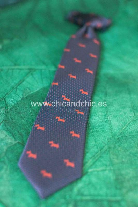 Corbata estampada perritos niño azul/rojo