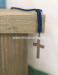 Cordón con cruz madera azul marino