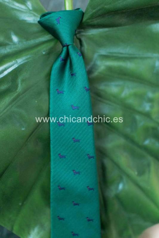 Corbata estampada perritos niño verde/azul