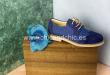 Zapato piel niño ante/lino. Azul