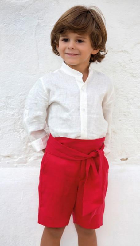 Traje niño arras en lino 311599. Crudo-rojo (Tallas 1-12 Años)