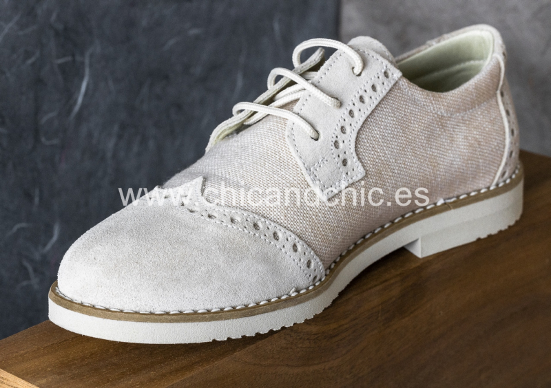 Zapato piel niño ante/lino. Beige