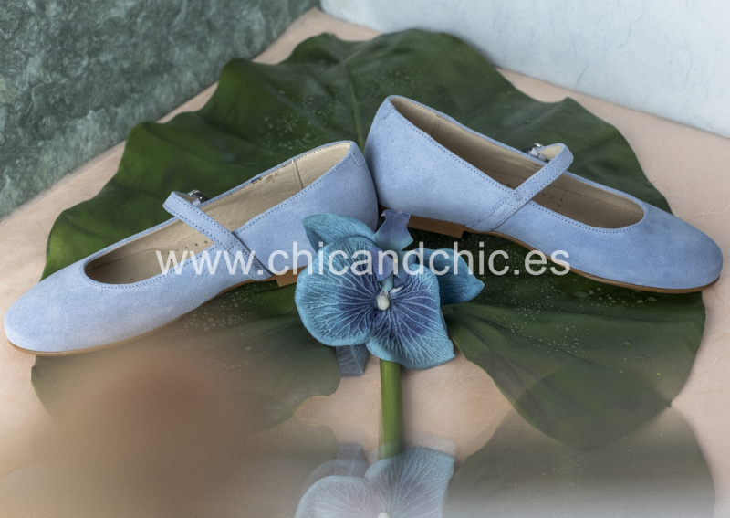Zapato hebilla . Ante azul