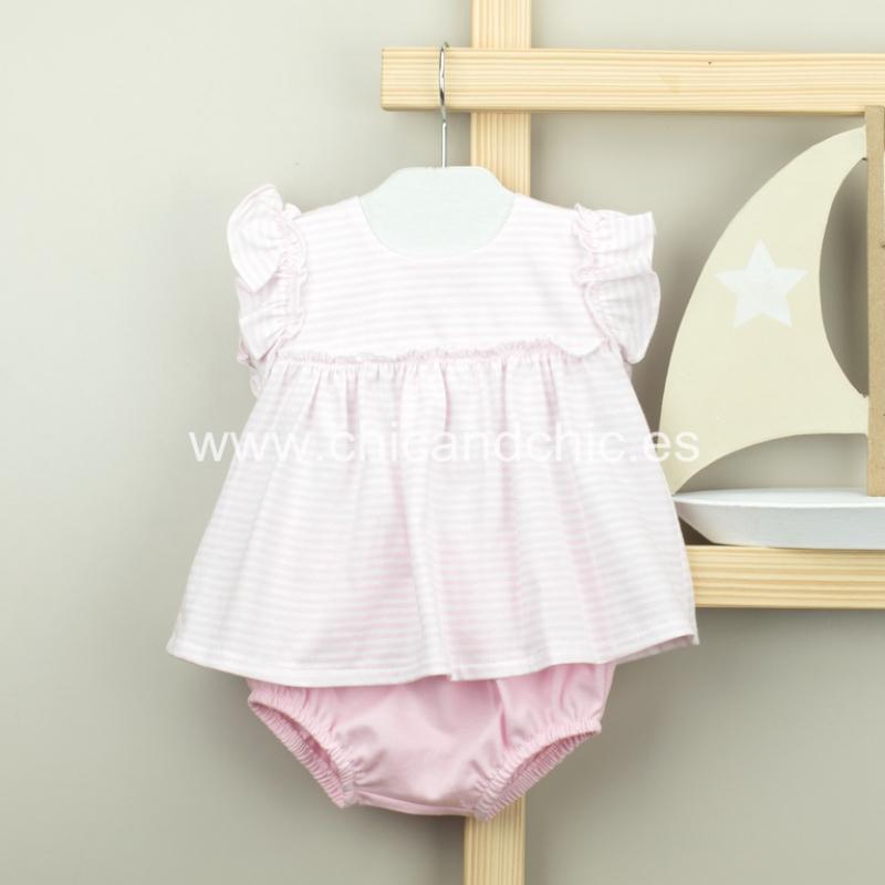 Conjunto ranita+camisa algodón rayas rosa.