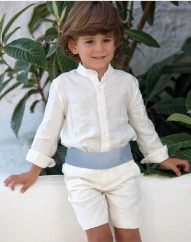 Traje niño arras en lino 311598. Crudo y fajín azul. (Tallas 1-12Años)