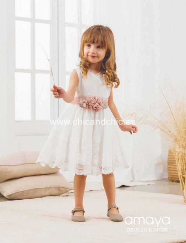 Vestido de ceremonia 533140.(1-12 Años) Crudo-Rosa/Crudo-verde agua