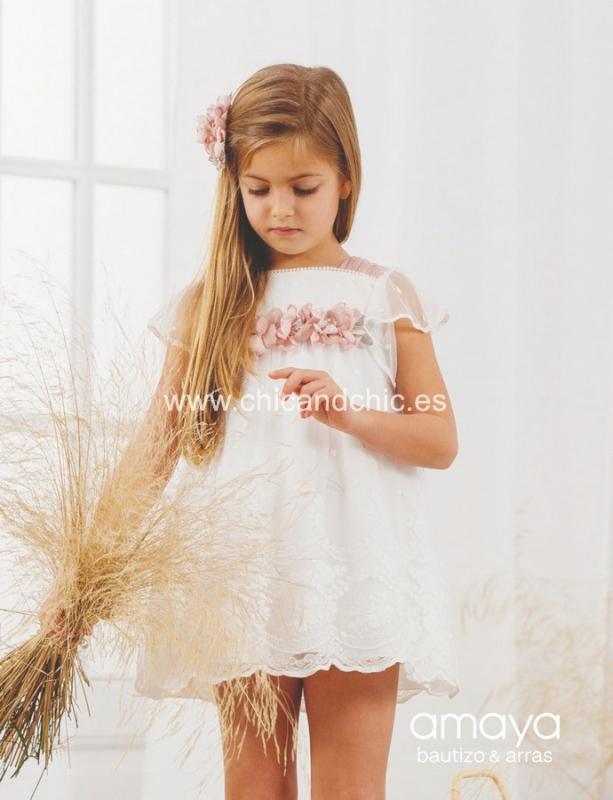 Vestido de ceremonia 533160.(1-12 Años) Crudo-Rosa/Crudo-verde agua