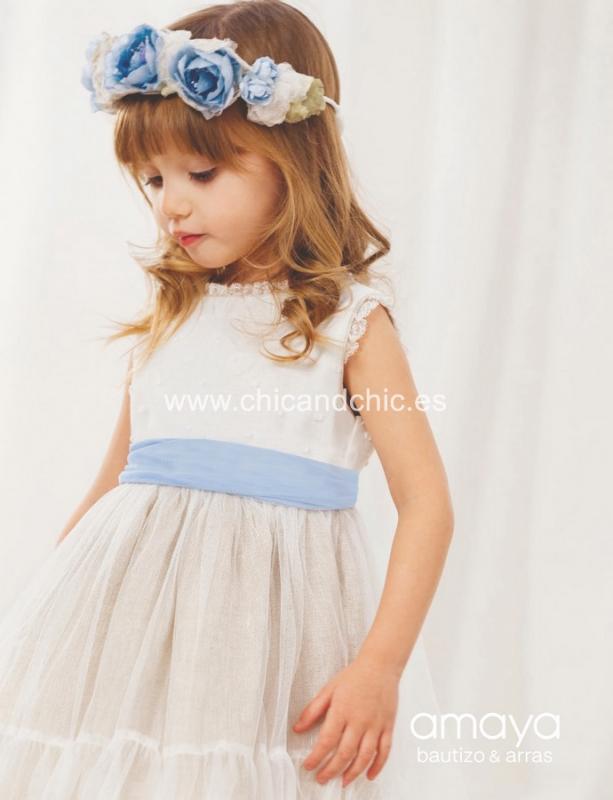 Vestido de ceremonia 533092.(1-12 Años) Crudo-Azul/tostado/caqui/maquillaje