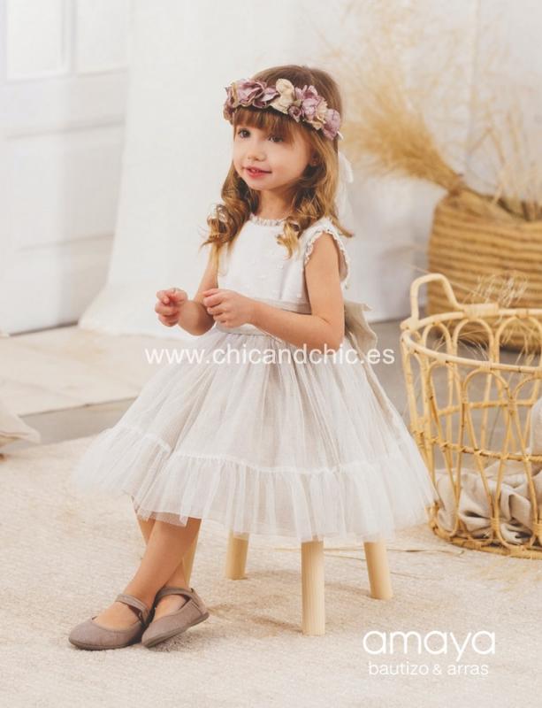 Vestido de ceremonia 533092T.(1-12 Años) Crudo-tostado/caqui/maquillaje/azul