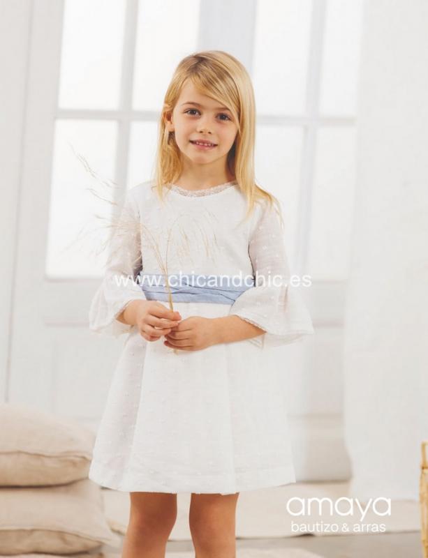 Vestido de ceremonia 533091.(1-12 Años) Crudo-azul/tostado/caqui/maquillaje
