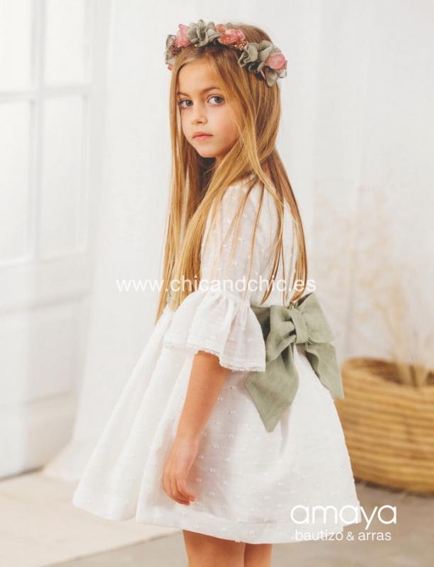 Vestido de ceremonia 533091C.(1-12 Años) Crudo-azul/tostado/caqui/maquillaje