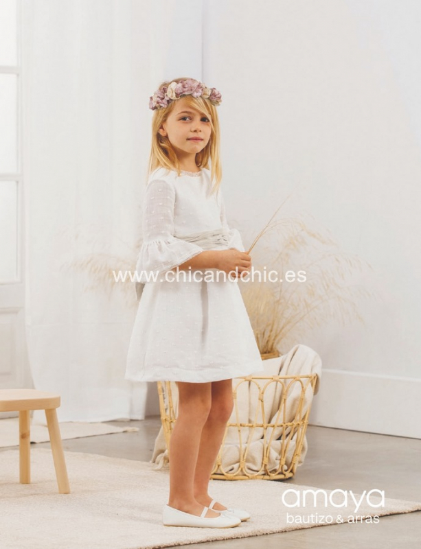 Vestido de ceremonia 533091T.(1-12 Años) Crudo-azul/tostado/caqui/maquillaje