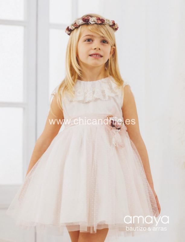 Vestido de ceremonia 533171SM.(1-12 Años) Color rosa o Crudo