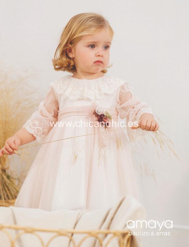 Vestido de ceremonia 533171MF.(1-12 Años) Color rosa o Crudo