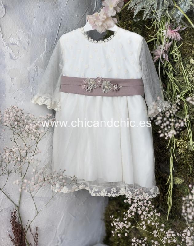 Vestido de ceremonia bebe Marta. Beige-Lino  rosa.