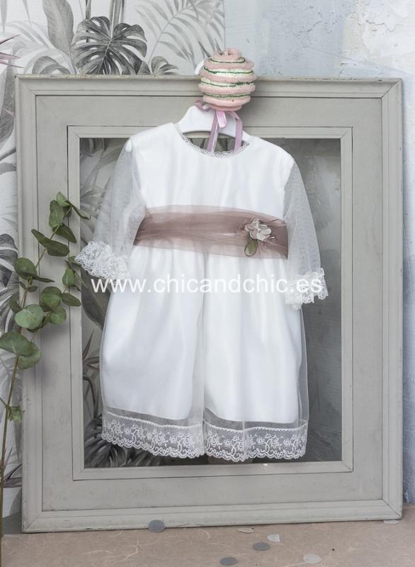 Vestido de ceremonia bebe Milara. Tul Blanco roto-rosa