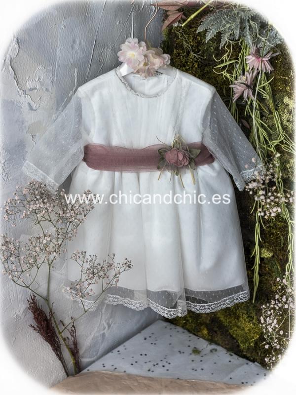 Vestido de ceremonia bebe Mencia. Tul Blanco roto-rosa
