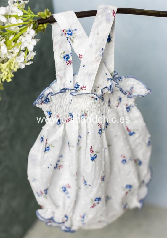 Ranita tirantes plumeti. Estampado blanco-azulón