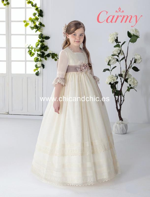 Vestido de comunión 2606. Beige-rosa.