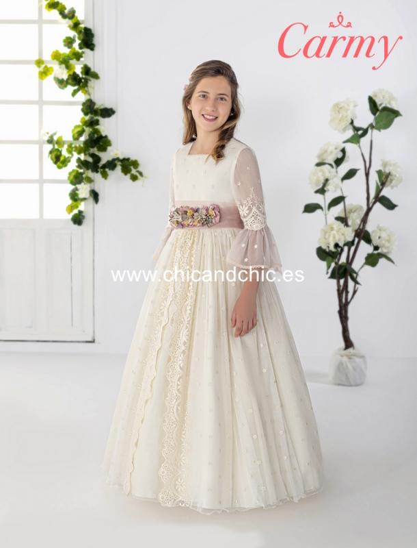 Vestido de comunión 2608. Tul bordado beige-rosa