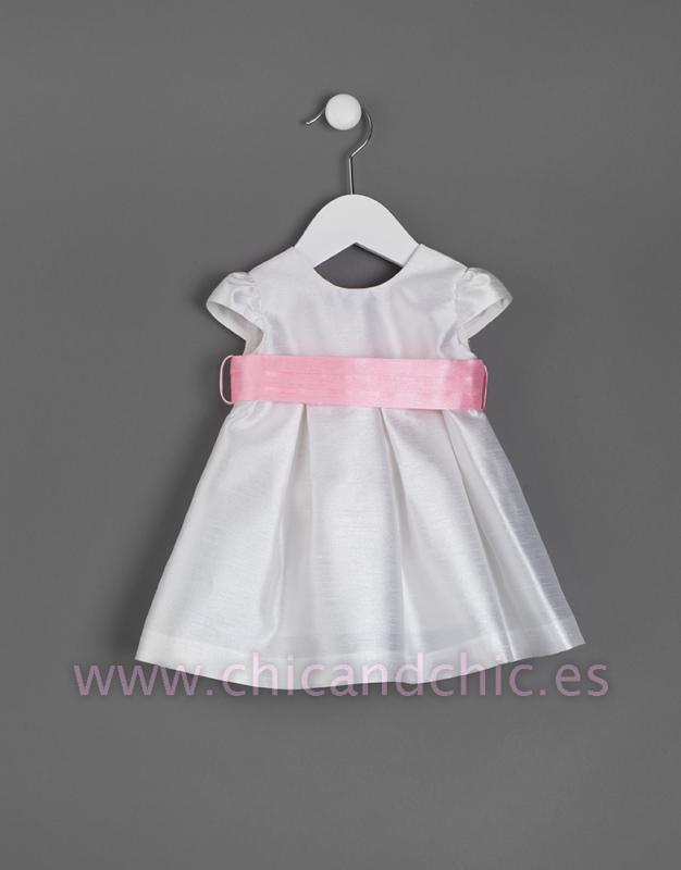 Vestido de bebe en seda poliéster. Crudo-rosa