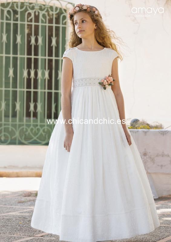 Vestido de comunión 557006MC. Blanco roto-Tostado.