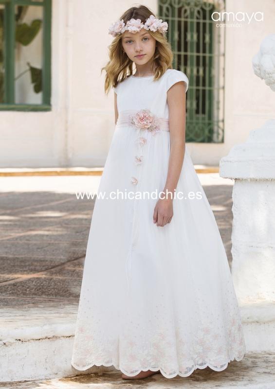Vestido de comunión 557008MC. Blanco roto-Rosa.
